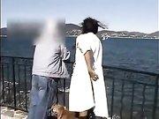 Wife flashing in public near an old man