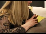 Sweet shared blonde girlfriend sucking big black cock in front of her man