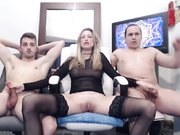 Two ugly dudes fuck a blonde hottie in front of webcam