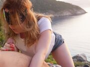 Great blowjob from girlfriend by the sea at sunset