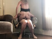 Awesome anal screw ride on the chair