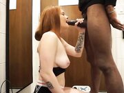 Super intense amateur deepthroat screw with redhead girl and monstrous black penis