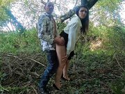 A walk in the woods ends up with a fuck and jizz ejaculation on her face