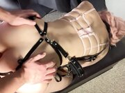 Female Partner with pink hair tied up and banged in the booty